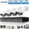 A-ZONE 4 Channel 1080P AHD Home Security Cameras System W/ 4x HD 1.3MP waterproof Night vision Indoor/Outdoor CCTV surveillance Camera, Quick Remote Access Setup Free App, Including 2TB HDD