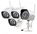 Zmodo Smart Wireless Security Camera System- 4 Pack- HD Indoor/Outdoor WiFi IP Cameras with Night Vision Easy Remote Access – Cloud Service Available