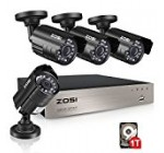 ZOSI 8CH Security Camera System HD-TVI 1080N Video DVR recorder with 4x HD 1280TVL 720P Indoor Outdoor Weatherproof CCTV Cameras 1TB Hard Drive ,Motion Alert, Smartphone, PC Easy Remote Access