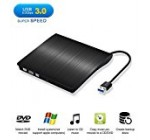 External CD Drive USB 3.0 Slim External DVD CD Drive, MKROYO High Speed Data Transfer DVD/CD +/-RM Writer Burner Rewriter DVD CD ROM Drive for Macbook Pro/Laptops/Desktops/Notebook(Black)