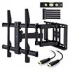 TV Wall Mount Bracket Full Motion Dual Articulating Arm for most 37-70 Inch LED, LCD, OLED, Flat Screen,Plasma TVs up to 132lbs VESA 600x400mm with Tilt, Swivel and Rotation HDMI Cable by PERLESMITH