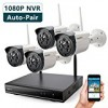 ONWOTE 1080P HD NVR Outdoor Wireless Security Camera System WiFi, 4 Pcs 960P HD 1.3 Megapixel Night Vision Video Surveillance Cameras, NO Hard Drive (Built-in Router, Auto Pair)