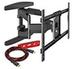 """Heavy-Duty Full Motion TV Wall Mount – Articulating Swivel Bracket Fits Flat Screen Televisions from 42"""" to 70"""" (VESA 400 x 600 Compatible) – Tilt Swing Out Arm with 10′ HDMI Cable"""
