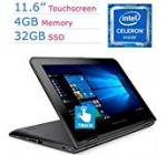 Lenovo 11.6?? IPS Touchscreen 2-IN-1 Convertible Laptop PC, Intel Celeron Processor up to 2.48GHz, 4GB RAM, 32GB SSD, Bluetooth, HDMI, WIFI, Spill-Resistant keyboard, Windows 10 Pro