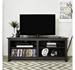 WE Furniture 58″ Wood TV Stand Storage Console, Charcoal