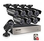 ZOSI 8-Channel 1080N HD Video Security System CCTV DVR 1TB Hard Drive + 8 Indoor/Outdoor 1.0MP 1280TVL Weatherproof Surveillance Security Camera System