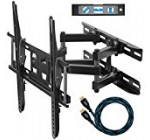 """Cheetah Mounts APDAM3B Dual Articulating Arm TV Wall Mount Bracket for 20-65"""" TVs up to VESA 400 and 115lbs, Mounts to Two 16″ studs and includes a Twisted Veins 10' HDMI Cable and a 6"""" 3-Axis Magnetic Bubble Level"""