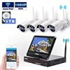 All in one with Monitor Wireless Security Camera System Home WIFI CCTV 4CH 1080P NVR Kit 4pcs 960P Indoor Outdoor Bullet IP Camera P2P IR Night Vision Waterproof Plug and Play with 1TB Hard Drive