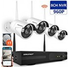 [Expandable System]Wireless Security Camera System,SMONET 8CH 960P Video Security System with 1TB HDD,4pcs 960P Indoor/Outdoor Wireless IP Cameras,65ft Night Vision,Plug&Play,Easy Remote View