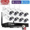 ZOSI 1080P 8CH HD Wireless Security Camera System 8Channel 1080P NVR 2TB Hard Drive and (8) HD 2.0MP 1080P Indoor/Outdoor Bullet IP Cameras 65ft Night Vision, Customizable Motion Detection