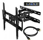 Everstone TV Wall Mount Fit for Most 23″-65″ TVs Dual Articulating Arm Full Motion Tilt Swivel Bracket 14″ Extension Arm,LED,LCD,OLED& Plasma Flat Screen TV,Curved TV,Up to VESA 400mm,HDMI Cable