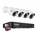 ZOSI 720p Security Camera System for Home, Security DVR 8 Channel with Hard Drive 1TB and 4 x (1280TVL) 720p Surveillance Camera Outdoor/Indoor, Customizable Record Modes and Motion Detection