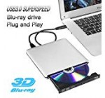 External Blu ray Drive,Ploveyy USB 3.0 4K 3D Blu Ray External Blu Ray Player Writer Portable BD/CD/DVD Burner Drive Polished Metal Chrome for Windows, Mac OS Laptop, PC, Computer