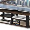 Tv Stands For Flat Screens 42 – Columbia Walnut Black Wood with Shelves – Display Your TV in Style