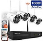 [Full HD]Wireless Security Camera System,SMONET 4CH 1080P Wireless Video Security System with 2TB HDD(WIFI NVR KIT),4pcs 1080P Indoor/Outdoor Wireless IP Cameras,P2P,65ft Night Vision,Easy Remote View