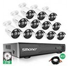 【More Stable】16 Channel Video Surveillance System SMONET 5-in-1 DVR Security Camera System(2TB Hard Drive), 12pcs 1080P High Definition Outdoor Security Cameras,DVR Kits with Night Vision,Remote View