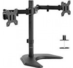 VIVO Twin LED Liquid crystal display Keep track of Cost-free-Standing Desk Stand for two Screens up to 27 inches | Heavy-Obligation Completely Adjustable Arms with Optional Bolt-Via Grommet Mount (STAND-V002F)