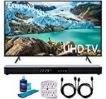 Samsung 58″ RU7100 LED Wise 4K UHD Television set 2019 Design (UN58RU7100FXZA) with Screen Cleaner for LED TVs, SurgePro six-Outlet Surge Adapter, 2X HDMI Cable & Property Theater 31″ Soundbar