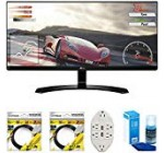 LG 34UM60-P 34-inch IPS WFHD Ultrawide Freesync Keep an eye on 2017 Design Bundle with 2X 6ft HDMI Cable, Monitor Cleaner for LED TVs and six-Outlet Surge Adapter with Night Light