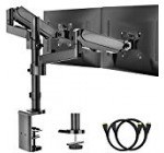 Twin Arm Check Stand, Entire Movement Adjustable Gas Spring Check Mount Riser with C Clamp/Grommet Base for Two 17 to 32 inch Liquid crystal display Personal computer Screens, Each and every Arm Holds up to seventeen.6lbs, Reward HDMI Cable