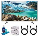 """Samsung fifty eight"""" RU7100 LED Wise 4K UHD Tv set 2019 Design (UN58RU7100FXZA) with Universal Display Cleaner for LED TVs Big Bottle, SurgePro six-Outlet Surge Adapter & 2X HDMI Cable"""