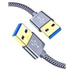 USB 3. A to A Male Cable, JSAUX USB to USB Cable 2 Pack(three.3ft+6.6ft) USB Male to Male Cable Double End USB Twine with Gold-Plated Connector for Difficult Travel Enclosures, DVD Participant, Laptop Cooler (Grey)