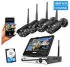 [8CH Expandable] All in one with ten.1″ Liquid crystal display Keep an eye on Wi-fi Stability Camera Technique with Audio, 8CH 1080P NVR Kit 4Pcs 2MP Outside Bullet IP Cameras(Black) 65ft Night time Vision Water-resistant,1TB Difficult Push
