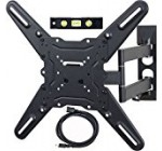 VideoSecu ML531BE TV Wall Mount for most 22″-55″ LED LCD Plasma Flat Screen Monitor up to 88 lb VESA 400×400 with Full Motion Swivel Articulating 20 in Extension Arm, HDMI Cable & Bubble Level WP5