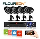 Floureon 8 CH Home Security Camera System DVR 960H + 4 Outdoor/ Indoor Bullet Security Cameras 900TVL HD Resultion Night Version for House/ Apartment/Office