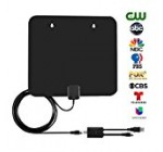 Amplified TV Antenna for 60 Miles Reception Range – Indoor Smart TV Antenna with Detachable Amplifier and 10ft Coaxial Cable, Black