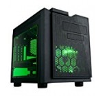 APEVIA X-QPACK3-GN Micro ATX Cube Gaming/HTPC Case, Supports Video Card up to 320mm/ATX PS, 2xGreen Windows, USB3.0/USB2.0/HD Audio Ports, 1 x 140mm Green LED fan, Flip Open Design, Dust Filter–Green