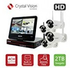 [4CH] Crystal Vision CVT9604E-3010W All-in-One TRUE HD Wireless Surveillance System NVR CCTV w/2TB HDD, Built-in Monitor & Router, Camera Auto Pair
