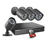 ANNKE 8 Channel Security Camera System 5-in-1 1080P lite H.264+  DVR with 1TB Surveillance Hard Disk Drive and (4) 1280TVL 1.0MP Weatherproof  HD-TVI Bullet Cameras with IR-cut Night Vision LEDs, Instant email alert with images