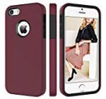 BENTOBEN Phone Case for Apple iPhone SE, iPhone 5S, iPhone 5, 2 in 1 Soft Hybrid TPU Bumper Hard PC Phone Protective Cover, Shockproof Heavy Duty Phone Cover for Women, Girls – Wine Red/Burgundy
