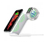Maxjoy Wireless Charger Compatible iWatch, 2 in 1 Wireless Charger Stand, Qi Fast Wireless Charger Dock Compatible for Apple Watch iPhone Xs/X /8 Samsung Galaxy S9/S9+/S8/S8+/S7/Note 8 Note 5, White