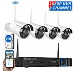 NexTrend Security Camera System, 8CH 1080P Wireless Video Recorder with 4Pcs 960P Outdoor Security Camera, 1TB Hard Drive Pre-Installed, Plug-Play for Home Security