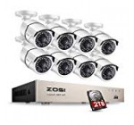 ZOSI Full HD 1080P PoE Video Security Cameras System,8CH 1080P Surveillance NVR, 8×2.0 Megapixel Outdoor Indoor Weatherproof IP Cameras, 120ft Night Vision with 2TB Hard Drive, Power over Ethernet