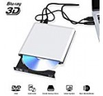 Exterior Blu Ray DVD Travel 3D 4K, USB 3. Optical Bluray DVD CD Burner RW Player CD Row Rewriter Moveable Suitable for MacBook OS Home windows 7 8 10PC (Silver )