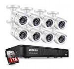 ZOSI 8-Channel HD-TVI 1080p Lite Security Camera System,4in1 Surveillance DVR with 4PCS 1280TVL(720p),100ft(30M) Night Vision Weatherproof Outdoor/Indoor Surveillance CCTV Bullet Camera