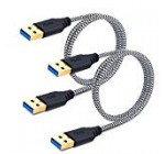Male to Male USB 3. Cable, Besgoods 2-Pack 3FT/1M Brief Braided USB Sort A to A Cable Wire for Data Transfer, DVD Player, Notebook Cooler and Much more, White