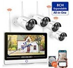 【2019 New】 All in 1 with 12″ Keep an eye on 1080P Security Camera Program Wi-fi,SMONET eight-Channel Out of doors House Camera Technique(2TB Challenging Push),4pcs two.0MP(1080P) Watertight Wireless IP Cameras,P2P,Free of charge Application