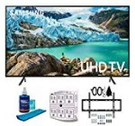 "Samsung fifty"" RU7100 LED Smart 4K UHD Tv 2019 Model (UN50RU7100FXZA) with Slim Flat Wall Mount Package Greatest Bundle for forty five-ninety inch TVs, Screen Cleaner for LED TVs & SurgePro 6-Outlet Surge Adapter"