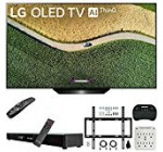 LG OLED55B9PUA B9 55″ 4K HDR Wise OLED Tv with AI ThinQ (2019) Bundle with Deco Gear Residence Theater Soundbar, Flat Wall Mount Package, Wireless Keyboard and 6-Outlet Surge Adapter with Night time Light-weight