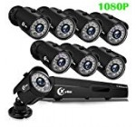 XVIM 1080P H.264 Property Wired Stability Cameras System, 8CH 1080P High definition DVR 8pcs 1080P 1920TVL Outside Indoor Water-proof Surveillance Cameras with Stay Viewing 85FT Evening Eyesight(No HDD)