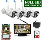 【2020 Update】 10 inch Display screen High definition 1080P eight-Channel Out of doors Wireless Protection Digital camera System,4pcs 1080P Wi-fi IP67 Weatherproof IP Cameras,70FT Night time Vision,P2P,Application, 1TB Challenging Generate Pre-Set up